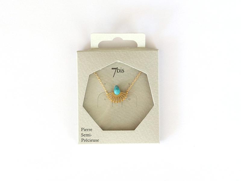 Acheter Collier goutte turquoise et silhouette paon doré - 25,90€ en ligne sur La Petite Epicerie - 100% Loisirs créatifs