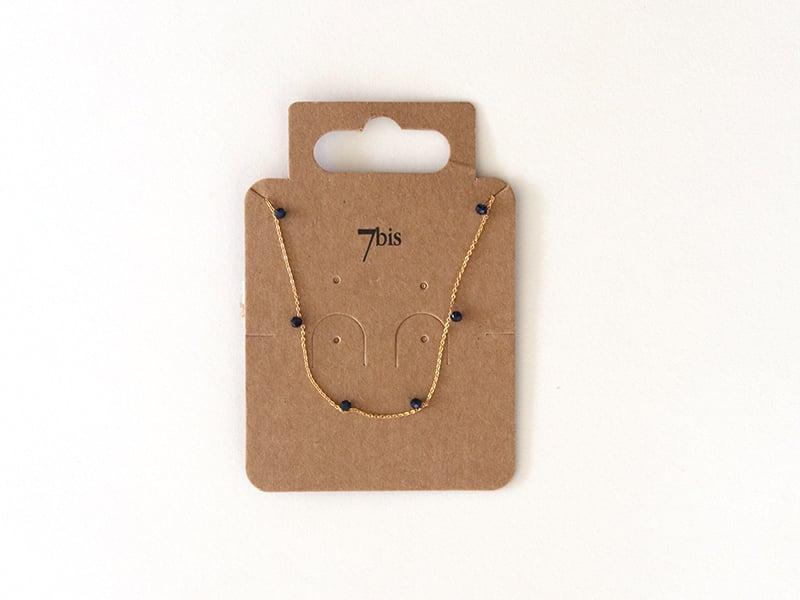 Collier fin avec petites perles en verre noires 7bis - 1