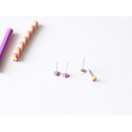10 paires de puces d'oreilles couleur bronze  - 2
