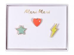 Acheter 3 pin's broche étoile, cœur et éclair - 9,99€ en ligne sur La Petite Epicerie - 100% Loisirs créatifs