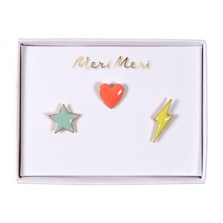 3 pin's broche étoile, cœur et éclair Meri Meri - 1