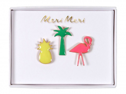 3 pin's broche ananas, palmier et flamand rose Meri Meri - 1