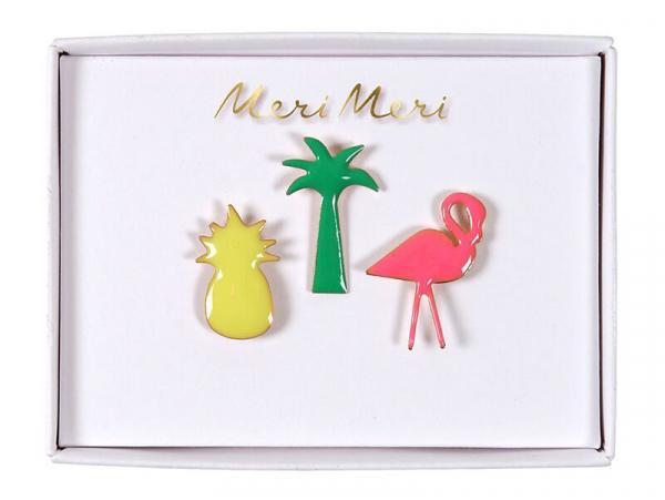 Acheter 3 pin's broche ananas, palmier et flamand rose - 9,99€ en ligne sur La Petite Epicerie - Loisirs créatifs