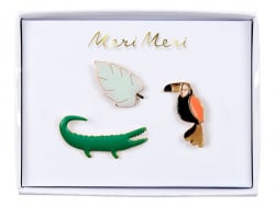 3 pin's broche crocodile, perroquet et monstera Meri Meri - 1
