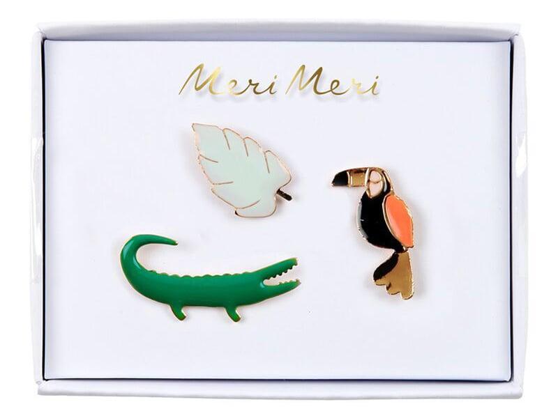 Acheter 3 pin's broche crocodile, perroquet et monstera - 9,99€ en ligne sur La Petite Epicerie - Loisirs créatifs