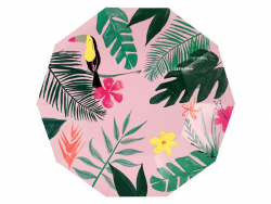 12 assiettes en carton - Tropical Meri Meri - 1