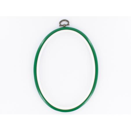 Tambour à broder ovale vert - 25.5 x 20 cm  - 1