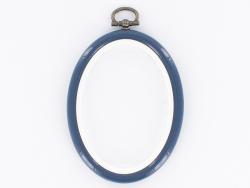 Tambour à broder ovale bleu marine - 8.5 x 6.5 cm  - 1