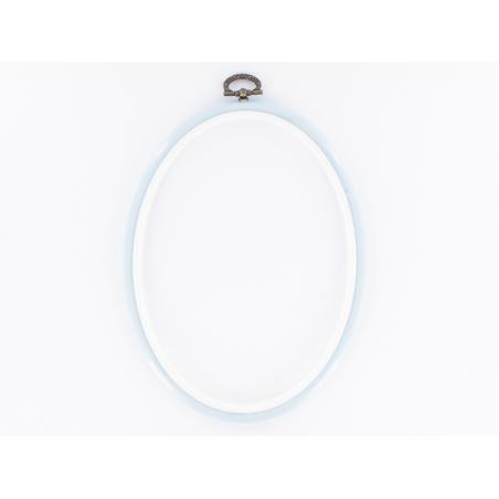 Tambour à broder ovale bleu ciel - 17.5 x 13 cm  - 1