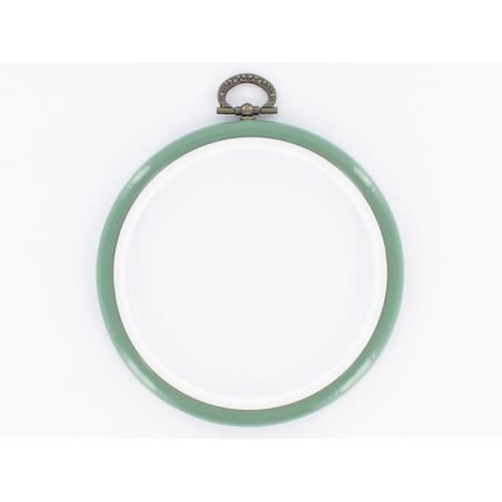 Tambour à broder rond vert amande - 10 cm  - 1