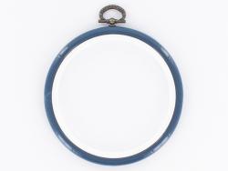Tambour à broder rond bleu marine - 10 cm  - 1