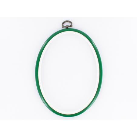 Tambour à broder ovale vert - 17.5 x 13 cm  - 1