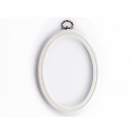 Tambour à broder ovale blanc - 13.5 x 10 cm  - 1