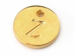 Breloque ronde lettre Z - doré  - 1