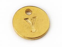 Breloque ronde lettre Y - doré  - 1
