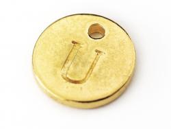 Breloque ronde lettre U - doré  - 1