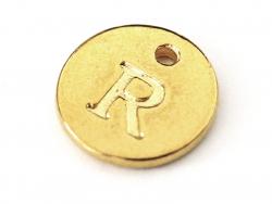 Breloque ronde lettre R - doré  - 1