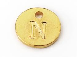 Breloque ronde lettre N - doré  - 1