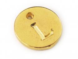 Breloque ronde lettre L - doré  - 1