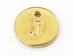 Breloque ronde lettre J - doré  - 1