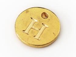 Breloque ronde lettre H - doré  - 1
