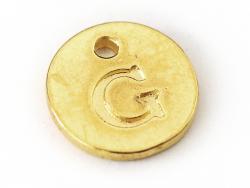 Breloque ronde lettre G - doré  - 1
