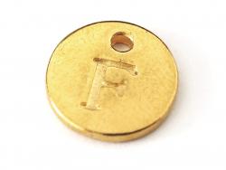 Breloque ronde lettre F - doré  - 1