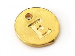 Breloque ronde lettre E - doré  - 1