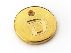 Breloque ronde lettre D - doré  - 1