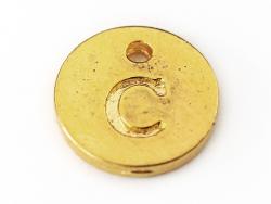 Breloque ronde lettre C - doré  - 1