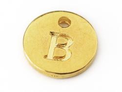 Breloque ronde lettre B - doré  - 1