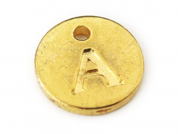 Breloque ronde lettre A - doré  - 1