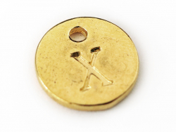Breloque ronde lettre X - doré  - 1