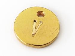 Breloque ronde lettre V - doré  - 1