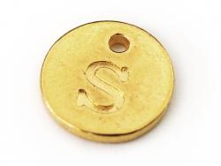 Breloque ronde lettre S - doré  - 1