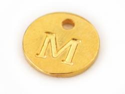 Breloque ronde lettre M - doré  - 1