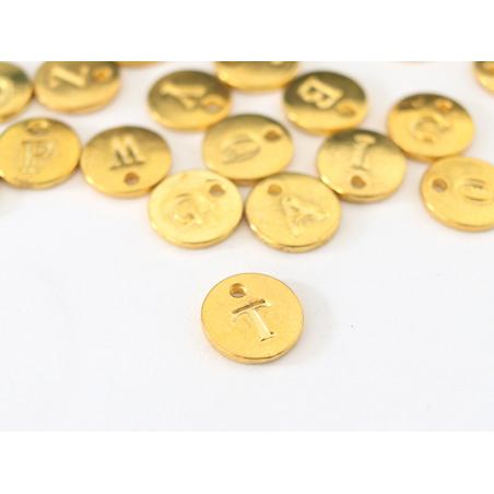 Acheter Breloque ronde lettre T - doré - 0,79€ en ligne sur La Petite Epicerie - Loisirs créatifs
