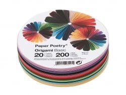 200 feuilles de papier Origami - 20 couleurs - rond 10 cm diamètre Rico Design - 1