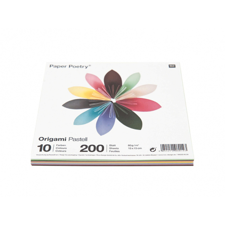 200 feuilles de papier Origami - 10 couleurs - 15 x 15 Rico Design - 1