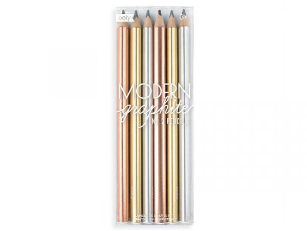 6 crayons graphite - couleurs métalliques Ooly - 1