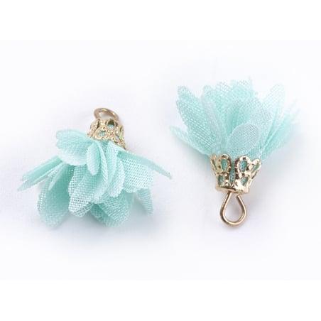 Acheter Pendentif fleur pompon en organza - vert d'eau - 0,49€ en ligne sur La Petite Epicerie - 100% Loisirs créatifs