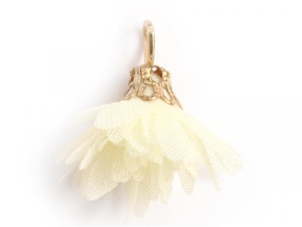 Acheter Pendentif fleur pompon en organza - jaune ivoire - 0,49€ en ligne sur La Petite Epicerie - 100% Loisirs créatifs