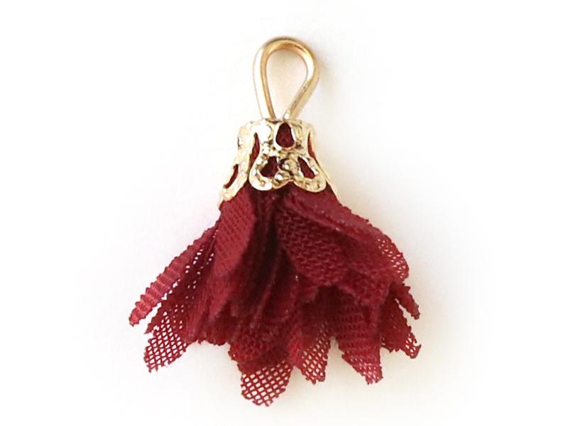 Acheter Pendentif fleur pompon en organza - bordeaux - 0,49€ en ligne sur La Petite Epicerie - Loisirs créatifs