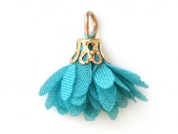 Acheter Pendentif fleur pompon en organza - bleu canard - 0,49€ en ligne sur La Petite Epicerie - 100% Loisirs créatifs