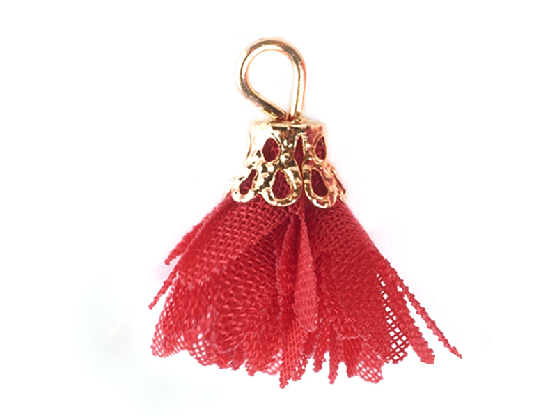 Acheter Pendentif fleur pompon en organza - rouge - 0,49€ en ligne sur La Petite Epicerie - 100% Loisirs créatifs