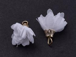Pendentif fleur pompon en organza - blanc  - 3