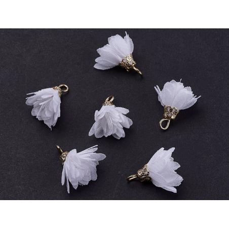 Pendentif fleur pompon en organza - blanc  - 4