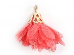 Pendentif fleur pompon en organza - rose corail  - 1