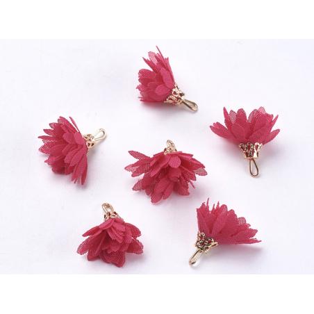 Acheter Pendentif fleur pompon en organza - rose framboise - 0,49€ en ligne sur La Petite Epicerie - Loisirs créatifs
