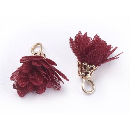Acheter Pendentif fleur pompon en organza - bordeaux - 0,49€ en ligne sur La Petite Epicerie - 100% Loisirs créatifs